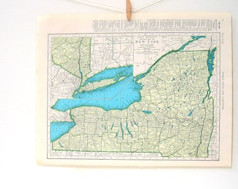 1946 New York Map, New Mexico Map - World Atlas Book Page - Vintage Map - 11 x 14