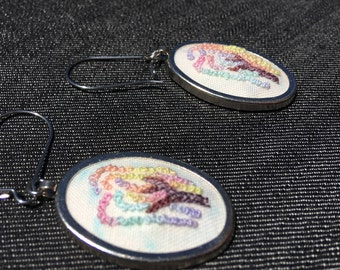 Embroidered Happy Little Tree Series - Rainbow Earrings
