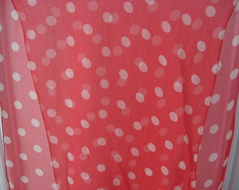 French Polka Dot Scarf. Vintage diaphonous chiffon headscarf in bright red & white spots, rolled edges. Floaty rockabilly retro neckerchief.