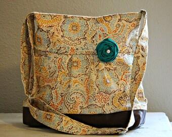 Messenger Bag, Medium Purse, Diaper Bag, Teal and Orange, Faux Leather Bag, Tote, Pleather Bag, Vegan Leather Purse, Pleated Purse, Fall