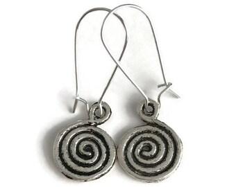 Silver Drop Earrings - Energy Spiral Jewelry - Simple Everyday Jewelry - Silver spiral Earrings - Silver drop earrings