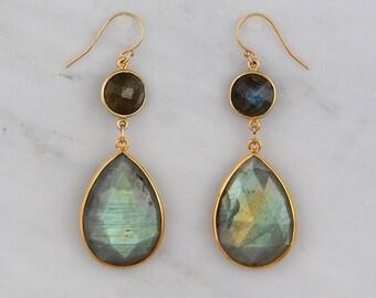 Labradorite Earrings, Gold Drop Earring, Tear drop Earring, Statement Dangling Earring, Formal Earring, Long Dangle Earring, Bridesmaid Gift