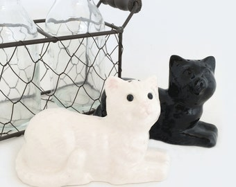 Collectible Ceramic Kitty Cat Salt and Pepper Shakers in Black and White