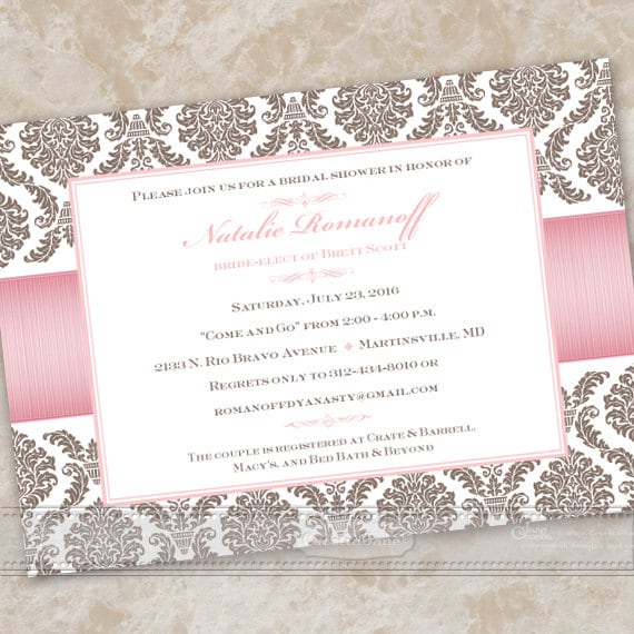 bridal shower invitations, wedding shower invitations, rose quartz bridal shower invitations, rose quartz wedding invitations, IN490