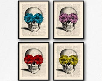 Skull Print Set, Dictionary Skull, Mystery Gift Pack, Floral Skull Art, Sugar Skull Bathroom, Geeky Girl Gift, Cool Girl Gift, Geek  S16