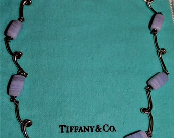 Vintage Tiffany & Co Sterling Silver Chalcedony Link Necklace