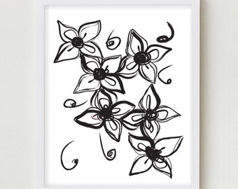 Floral Print Art Flower Print Black White Flowers Art Wall Art Illustration Decor Floral Black White Wall Art Decor Modern Illustration Art