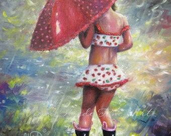 Girl Art Print, Children's Wall Art, rain girl, girls room, red umbrella, strawberry art, splashing, summer girl swim suit, Vickie Wade art