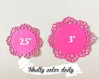 10 Shelly Colored paper doilies for scrapbooking or decoration materials