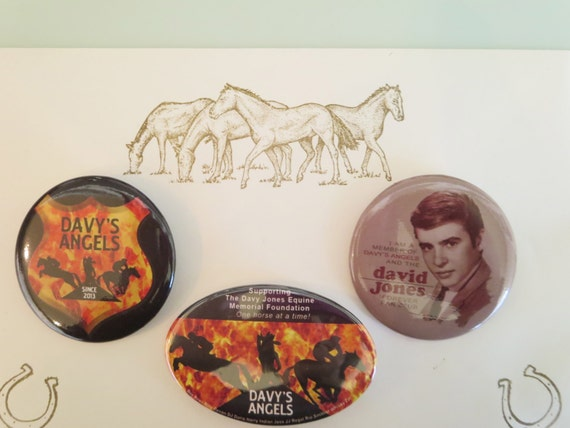 BUTTON - SET OF 3 - Davy's Angels Badge, Logo, and Davy Jones Fan Club