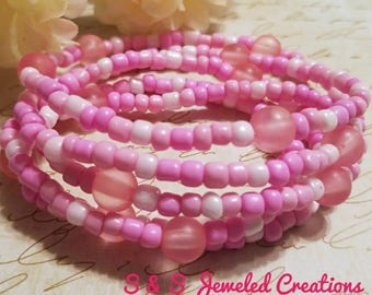 Pink Beaded stretch wrap bracelet, Pink Bracelet, Pink Wrap Bracelet, Pink Stretch Bracelet