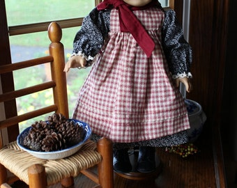 Pioneer Dress, Pinafore and Bonnet for Dolls Custom Order in Your Choice of Fabric