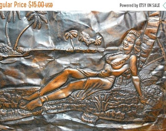 SALE33 Tiki /Hawaii Copper Wall Art Repousse