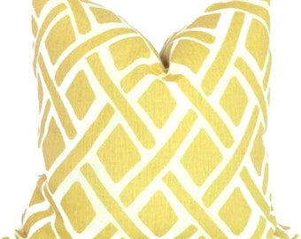 Kravet Yellow Trellis Decorative Pillow Cover 18x18, 20x20, 22x22 or lumbar pillow - Throw Pillow - Accent Pillow - Toss Pillow