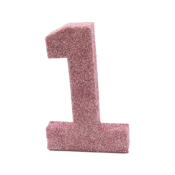 """8"""" Glitter Number 1, Paper Mache Number 1, Giant Blush Pink Number, Centerpiece Number 1, Table Letters, Large Decorative Pink Birthday"""