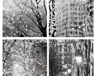 City Fairy Lights Photo Set - Four Fine Art Photographs, Paris, Urban, Magical Home Decor, Black and White, Large Wall Art