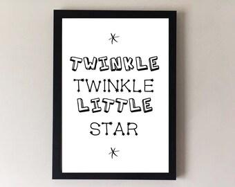 Twinkle twinkle little star, nursery print, childrens print, nursery wall art, childrens wall art, nursery decor, childrens decor