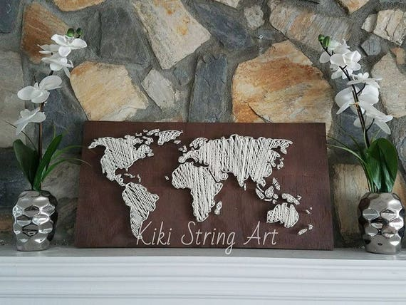 World map string art handmade sign world map wall art like this item gumiabroncs Choice Image