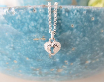 Sterling silver heart necklace, love necklace, heart necklace