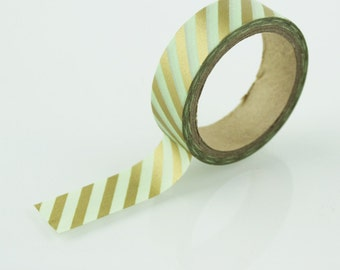 Gold & Mint Green Washi Tape // 15mm // Paper Tape // BBBsupplies {CR-W-S001}
