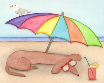 Dachshund (doxie) spending a day at the beach / Lynch signed folk art print