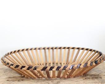 Vintage Wooden Slat Basket Bowl