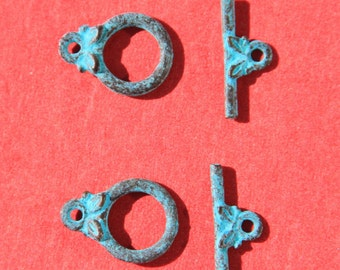 MADE IN GREECE, mykonos 5 toggle clasps, green patina toggle clasp, tiny toggle clasp, tiny green patina toggle clasp (X2453ABacg)Qty5