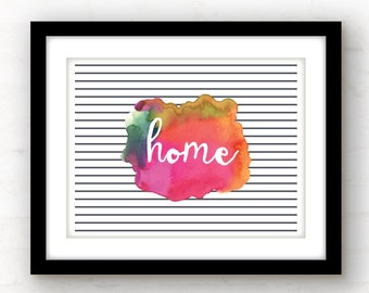 watercolor wall art | welcome home sign | welcome sign | foyer wall art | housewarming gift | watercolor home decor | modern wall art