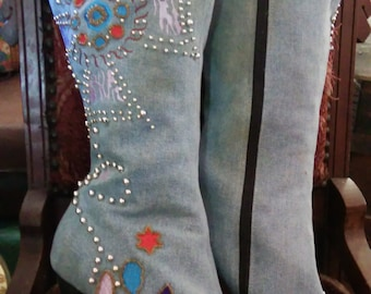 Fun and funky blinged out high heel denim boots size 8