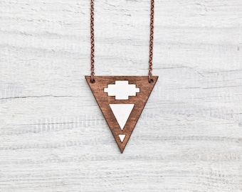 Tribal Triangle Necklace, Brown Pendant, Native Necklace, Geometric Jewelry, Gift For Daughter, Brown Necklace, Geometric Necklace, Mom Gift