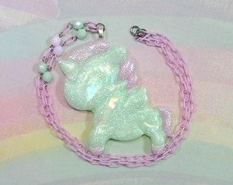 Fairy Kei Necklace, Unicorn Necklace, Pop Kei Necklace, Pegasus Necklace, Decora Necklace, Pastel Goth Necklace, Alicorn Necklace, Pegacorn