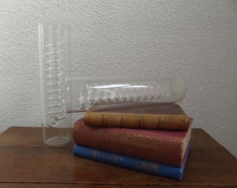 2 identical vintage lab glasses, laboratory glas tubes with spiral