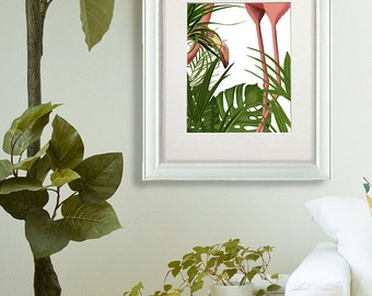 Pink Flamingo Peering - Tropical Flamingo Tropical decor pink flamingo print flamingo wall art flamingo decor jungle decor tropical theme