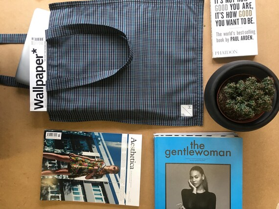 Blue & Green check Cotton Tote bag