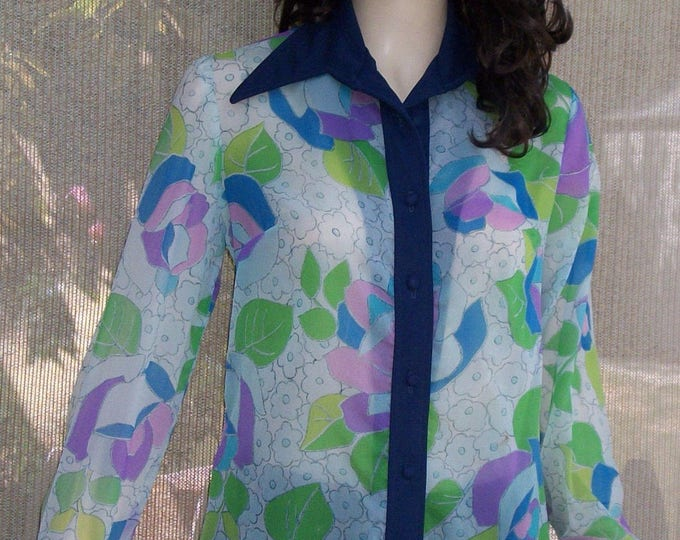 Vintage 70s Hippie Chic Mod Blue Green Pink Psychedelic Floral Sheer Nylon Mix Womens Long Sleeve Blouse Shirt Top