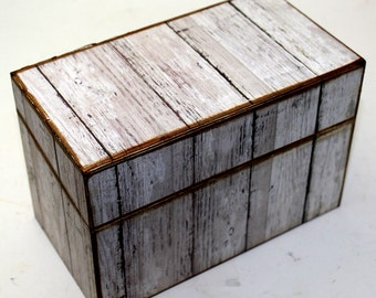 Wood Recipe Box Faux Barn Wood Fits 4x6 Recipe Cards