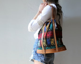 Woven Cotton and Tooled Leather Tote Bag // Mexican Handwoven Textile