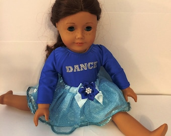 "Dancing#10 blue leotard with blue skirt for 18"" doll like the American doll"