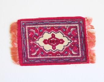 Miniature Rug, Dollhouse Rug, Pink Dollhouse Rug, Fringed Dollhouse Rug, Floral Dollhouse Rug, Rectangular Dollhouse Rug, Dollhouse Carpet