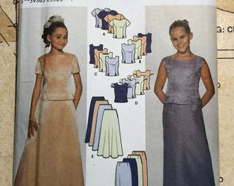 UNCUT Girls Formal Outfit Sewing Pattern Size 7-14 Simplicity 7041 S7041 Straight or Flared Skirt Princess Seam Top Evening Wedding Church