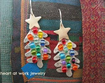 Christmas Tree Earrings, Christmas Jewelry, Artisan Jewelry, Metalwork, Handmade, Sterling Silver