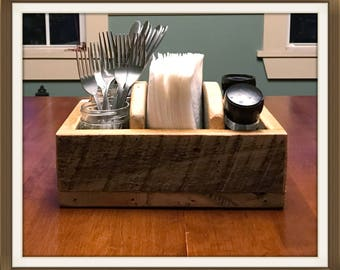 Rustic Table Organizer, Flatware Holder, Salt & Pepper Holder, Primitive Napkin Holder, Wooden Table Caddy, Reclaimed Wood Table Organizer