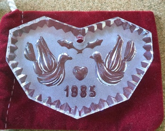 Vintage Waterford Crystal Annual Christmas Ornament, 1985, Two Turtle Doves, Second Of Twelve Days Of Christmas Collection, Ireland, Gift