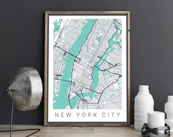 new york city map poster nyc map print map art new york city