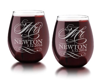 Set of 2 Personalized Mr. Mrs. Stemless Wine Glasses Last Name and Date Couples Wedding Anniversary Engagement Gift Custom Engraved Glasses