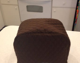 Brown 2 Slice Zipper Toaster Cover Quilted Fabric Kitchen and Home Decor Storage Small Appliance Cover Ready To Ship