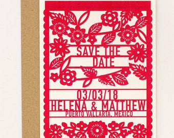 Floral Destination Wedding Save the Date – Colorful Mexican Fiesta Papel Picado Save the Date (Helena Suite)