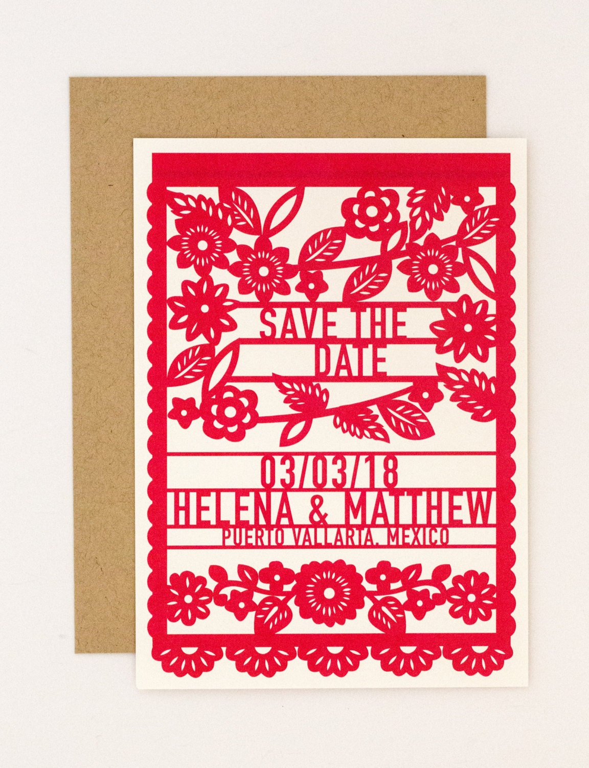 Floral Destination Wedding Save the Date Colorful Mexican