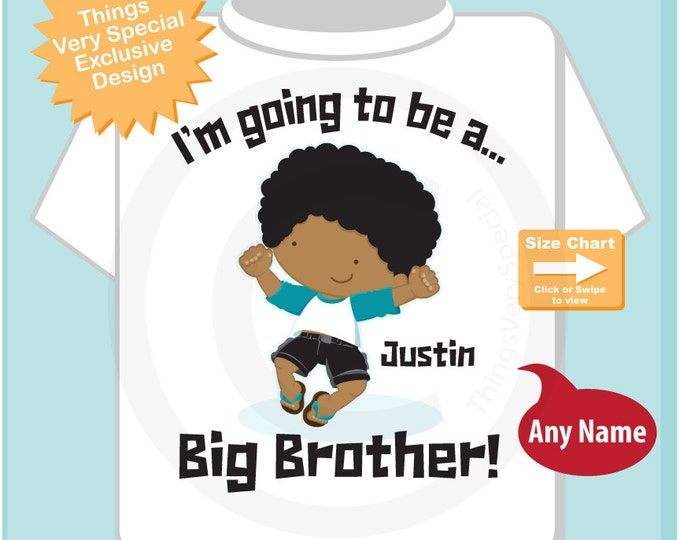 Big Brother Brown Skin Pregnancy Announcement I'm Going to be a Big Brother Tee Shirt or Onesie 12192014a