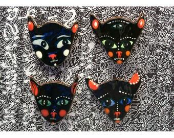 Quatre aimants pour réfrigérateur chat noir par Jenny Mendes